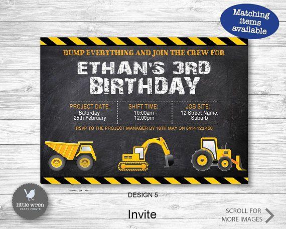 Construction Party Invitation, construction invite, Construction Party, Construction birthday, digger, Construction Invite, dump Truck