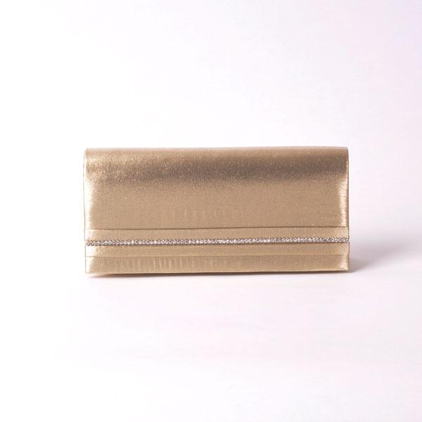 Dit feestelijk gouden enveloptasje met strasstenen op de voorzijde geven je outfit instant glam