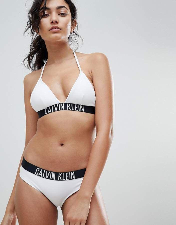 dad4a030fa Calvin Klein Fixed Triangle Logo Bikini Top in 2018