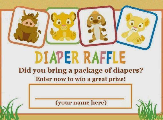 Lion King diaper raffle ticket