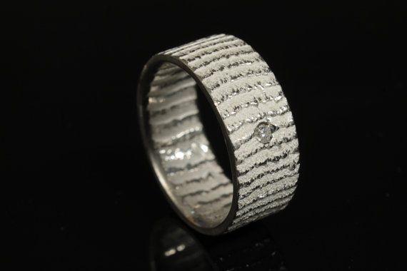 Fedina in argento 925 bianco con diamante di NaturalGeometry