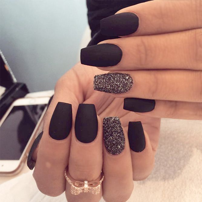 21 Matte Black Nails That Will Make You Thrilled So Cute Acrylic