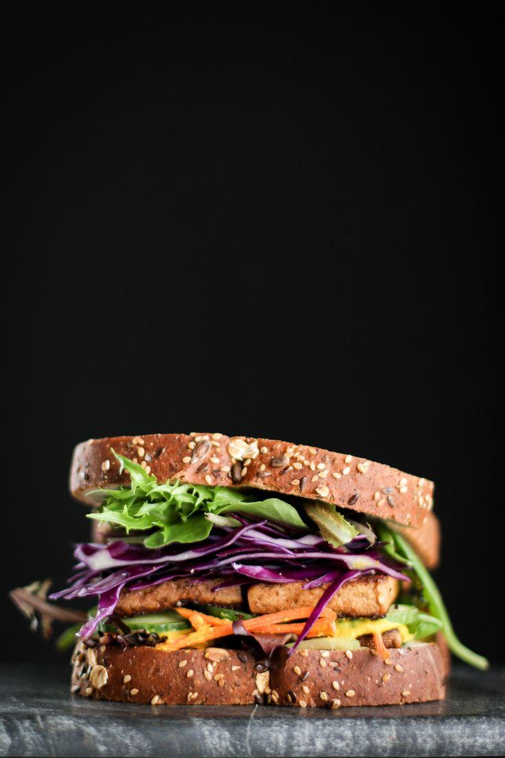 Marinated Tofu Sandwich + Salad