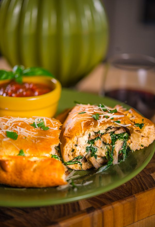 Calzone with Chicken Spinach and Mushrooms