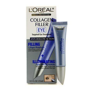 L'Oreal - Dermo-Expertise Collagen Filler Targeted Eye Treatment (Filling + Illuminating) - 15ml/0.5oz by L'Oreal Paris. $17.09. This beauty product is 100% original.. A multi-task anti-aging eye cream Contains boswelox & collagen bio-spheres that penetrate into skin surface to expand & plump cells Visibly reduces the appearance of fine lines & wrinkles Loaded with light reflecting micro pearls that illuminate