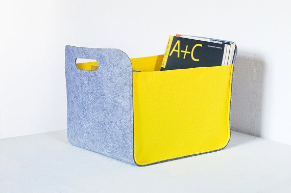 This two-tone storage bin with handles. Made from high quality felt.  The storage basket is perfect for modern interior. Storage bin can work in