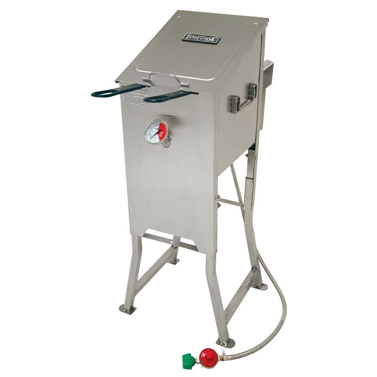 Prepare delicious food with this four-gallon propane deep fryer. With technology that heats oil from the inside-out, this fryer includes two stainless steel fry baskets. A sturdy stainless steel design makes this fryer an elite cooking machine.
