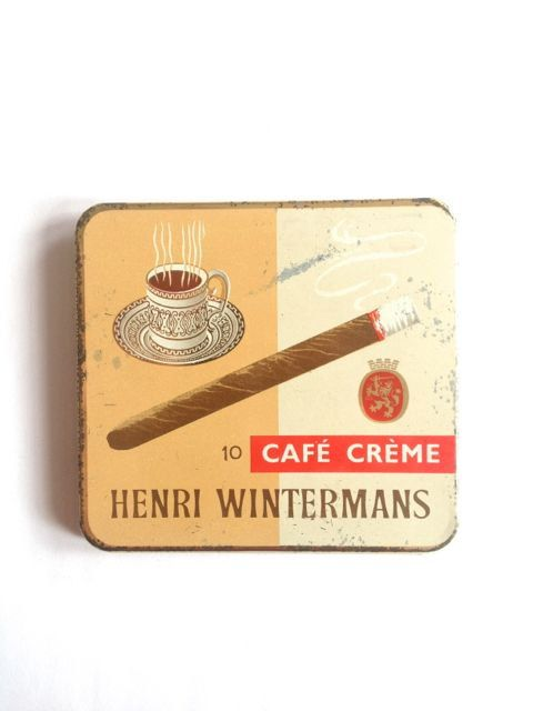 Henri Wintermans Cigar Tin, 10 Cafe Creme, vintage tin, tobacciana, cigars, metal tin, tin box