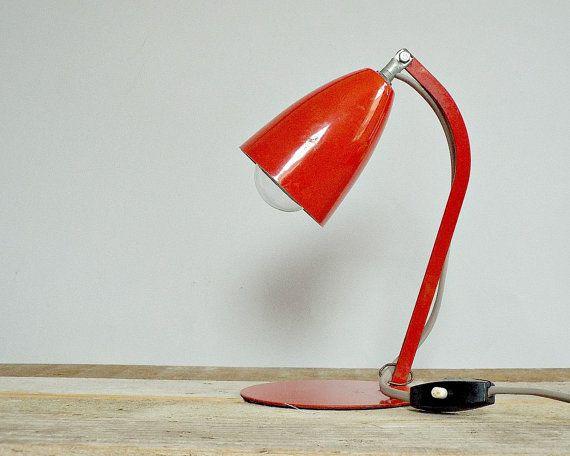 RETRO 1960 table lamp - vintage red tablelamp, '60s amazing desk lamp, reading light, lighting, MOD design, nightstand bedside table lamp