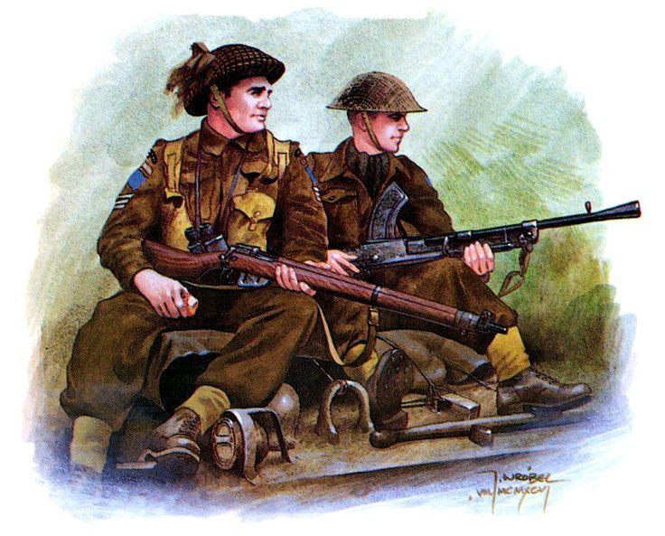 Sergente e soldato dei  Cameron Highlanders del Reggimento Ottawa. Normandia, agosto 1944. Jarosław Wróbel