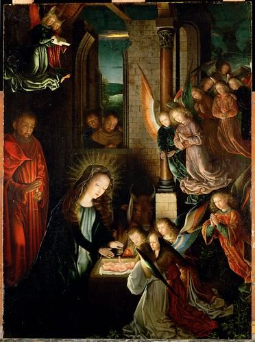 The Nativity, 1495 by Gerard David. Northern Renaissance. religious painting. Kunsthistorisches Museum, Vienna, Austria