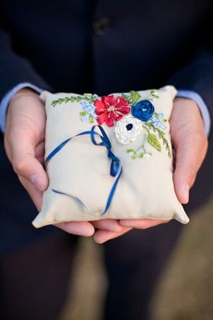 Custom made ring pillow by Hello Babe Studio to match our Americana preppy wedding theme