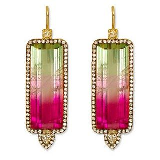 Jemma Wynne earrings: Watermelon Tourmaline, Diamond, and 18K Gold Earrings--Gorgeous colors!