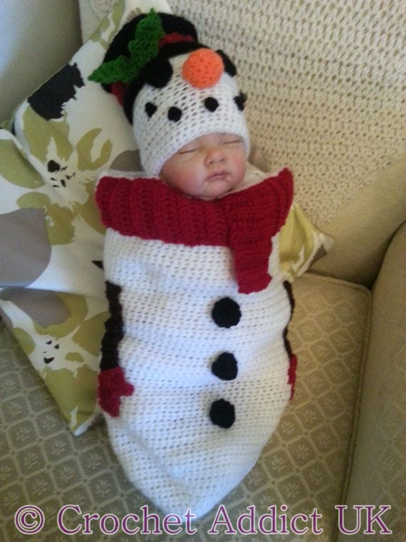Snowman Cocoon & Hat Set Crochet PATTERN ONLY