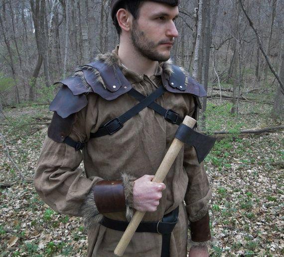 Armor SET Medieval Leather Shoulder Armor for sale!  by FolkOfTheWood on Etsy