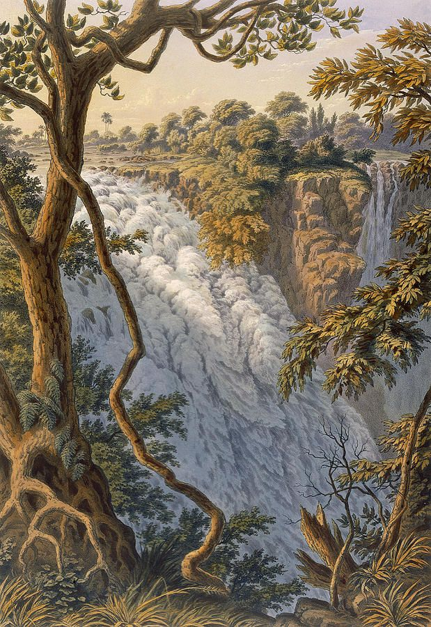 Водопад Рисунок - водопад Виктория прыгающая вода Томаса Бейнса