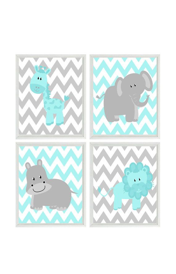Aqua Gray Nursery - Chevron Elephant Giraffe Hippo Lion Safari Wall Art Print Set   - Children Kid Room Home Decor Wall Art