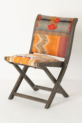 "Terai Chair, Orange Ikat eclectic chairs. Not your boring ""folding chair""!"