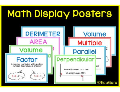 """Mathematics Definition Posters Full Version from EduGuru on TeachersNotebook.com -  (31 pages)  - This is a set of 29 (and more to follow) colorful printable A4 posters to """"spice up"""" your mathematics classroom. They cover mathematics definitions that meets common core standards."""