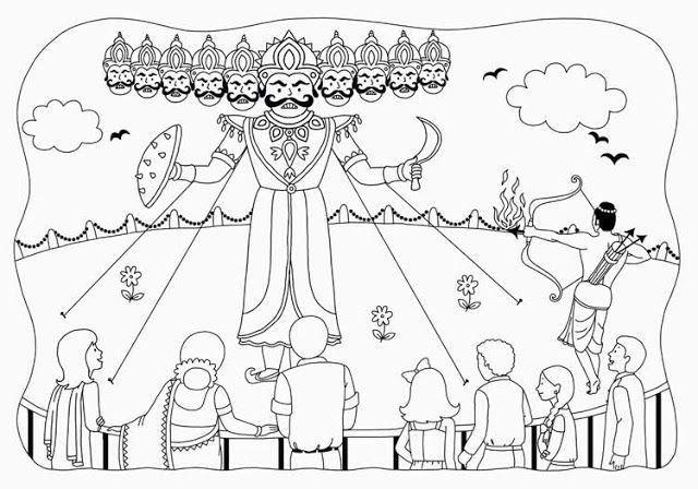 dussehra sketches for kids - Google Search