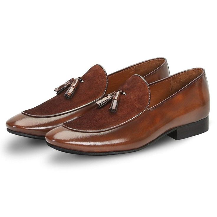 #Brown #glossy/suede #leather #apron toe tassel slip-on shoe by brune
