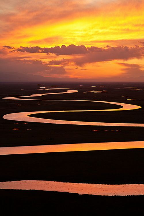 Sunset at Bayinbuluke prairie, China