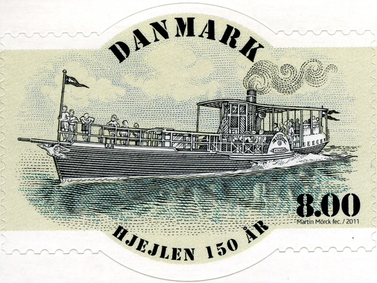 Denmark marked the 150th Anniversary of the S/S Hjejlen with a postage stamp issued on 8 June 2011. Designed and engraved by Martin Mörck, the stamp is printed in a combination of intaglio and offset.