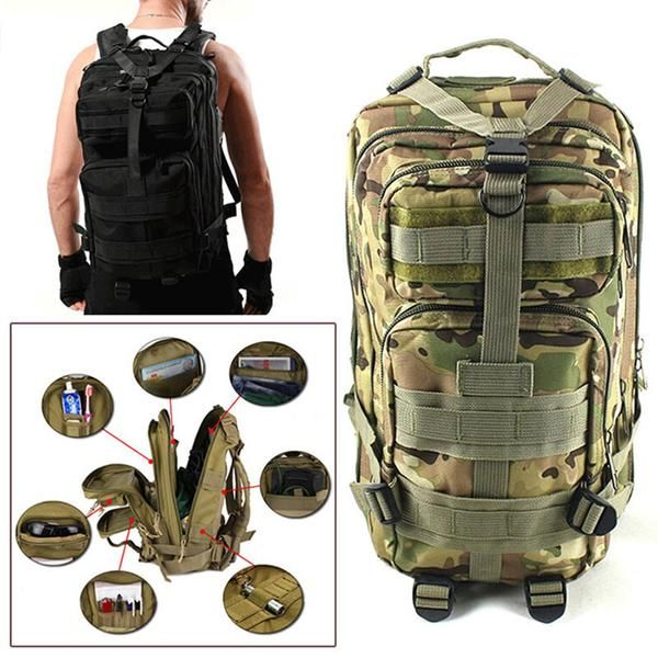 Function: Climbing,Fishing,Cycling,Camping,Hiking,AdventureGender: UnisexBackpacks Type: SoftbackRain Cover: YesMaterial:Tear Resistant Oxford FabricFeatures: Laptop Bag,Water Resistance,molle system,Tactical StyleColor: Black,Green,CP,ACU CamouflageMaterial: Oxford Fabric
