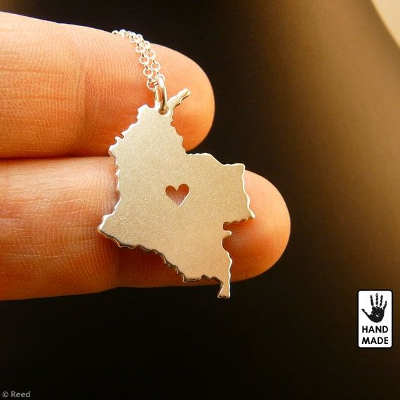 COLOMBIA Map Handmade Personalized Sterling Silver .925