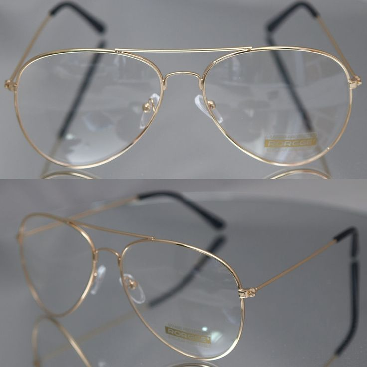 Aviator driving Designer Glasses Unisex Retro Gold Metal Frame Clear Lens in Health & Beauty, Vision Care, Other Vision Care | eBay