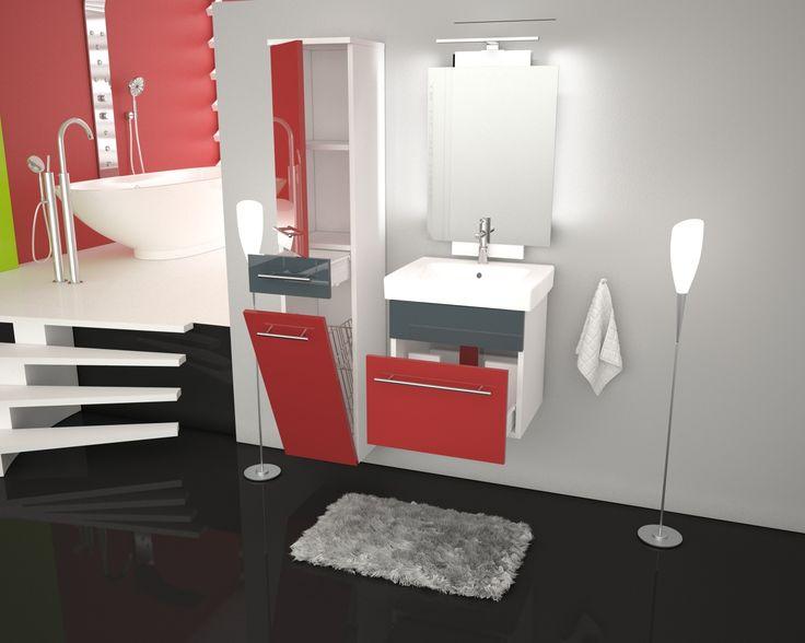 Łazienka w stylu funky? Niebanalne połączenie czerwieni i niezwykle modnej szarości to strzał w dziesiątkę. Funkcjonalne i piękne meble łazienkowe Basic od Furni.