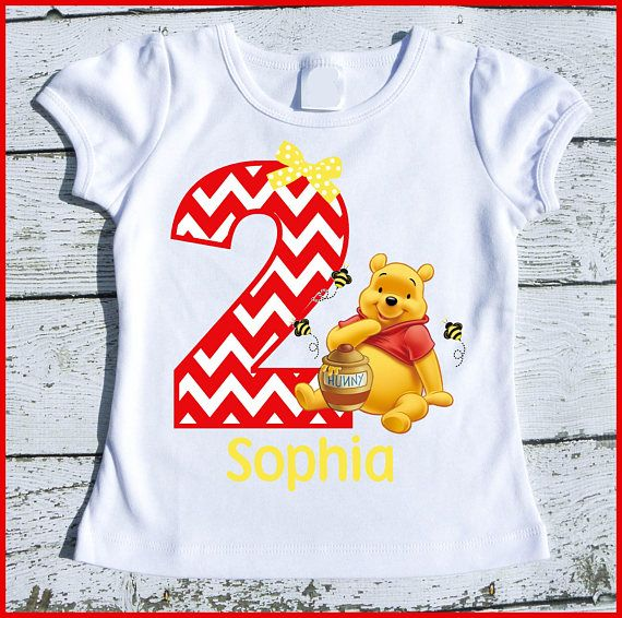 Customized super cute Winnie The Pooh Bear Red Chevron birthday tee shirt . Tee shirts are printed with specialized ink/printer on high quality transfer paper and applied and professionally printed with a commercial heat press machine in my home studio. The tee shirt is available