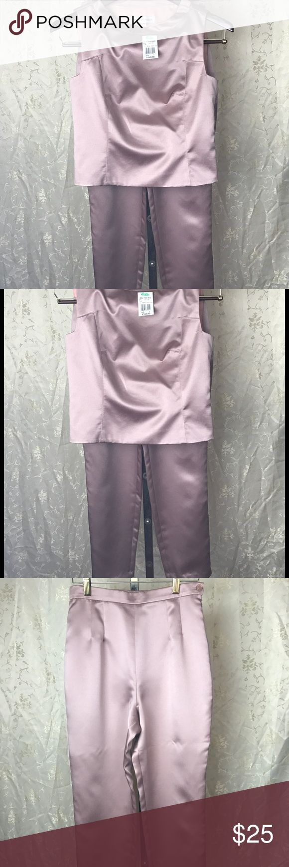 Hannah Hardy pants suit Beautiful Hannah Hardly pant suit in sz. 4 in a very soft rose pink color/sleeveless top has a zipper on the side and also the pants have a zipper on the side! 100% polyester lining/100% acutate Hannah Hardy Other