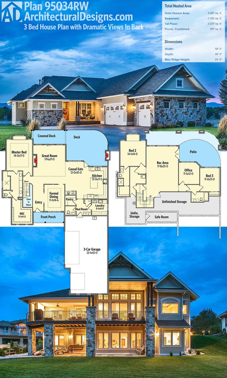 Architectural Designs House Plan 95034RW. Designed for a rear-sloping lot, it gives you dramatic views out the back, decks on the main level and a covered patio on the lower level. Ready when you are! Where do YOU want to build?