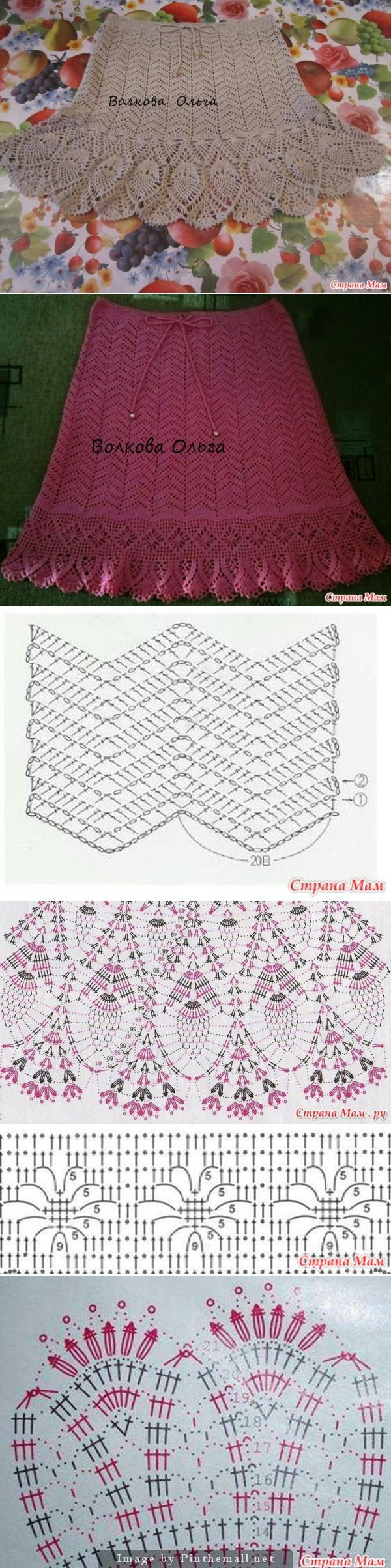 Crochet skirt chart pattern