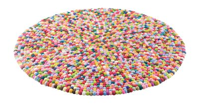 Imagine a small, brightly coloured, hand woven, felt ball. Then imagine thousands of them, in countless different colours, all hand stitched together and you have the incredible Multi-Coloured Pop rug! Guaranteed to add pizzazz to your home, wherever you put it.