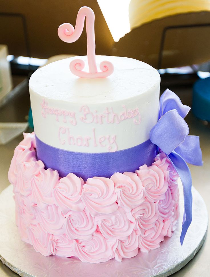 A Pink And Purple First Birthday Cake Cake 121 Kids