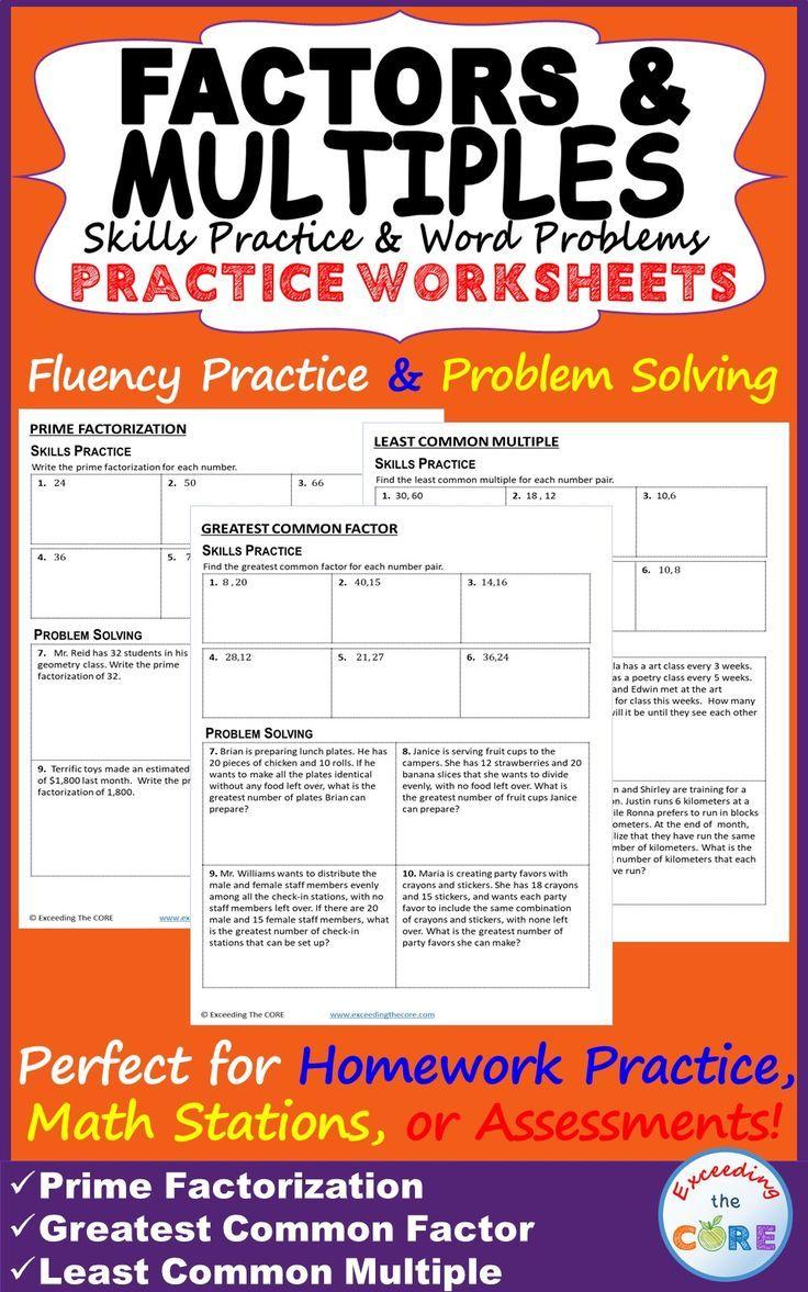Predownload: Factors Multiples Homework Practice Worksheets Skills Practice Word Problems This Resource Inc Factors And Multiples Word Problems Word Problem Practice [ 1177 x 736 Pixel ]