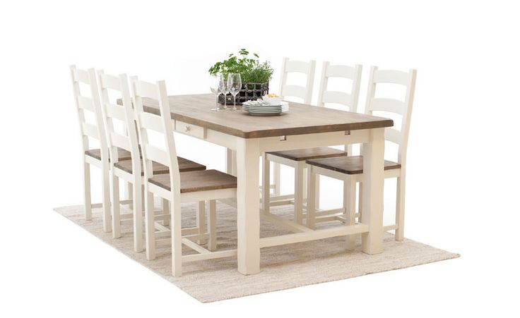 Bohus Marseille  spisebord Bredde 190.0 cm, høyde 77.5 cm, dybde 95.0 cm. 3799,-  stol 699,- Bord m 6 stoler = 7993,-