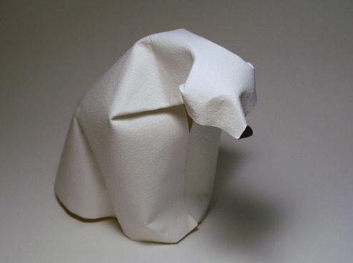 Polar Bear  Origami- wet paper folding