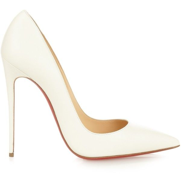 Christian Louboutin So Kate 120mm pumps (2,330 ILS) ❤ liked on Polyvore featuring shoes, pumps, heels, white, red stilettos, leather pumps, white pointy-toe pumps, christian louboutin pumps and pointed-toe pumps