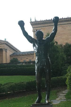 Rocky Balboa statue in Philadelphia #boxing #movies.Originally created for Rocky III, the sculpture is now a real-life monument to a celluloid hero. The fictional Rocky Balboa of Sylvester Stallone's Rocky movies was immortalized in bronze in 1980. After filming for the movie completed, Stallone donated the statue to the City of Philadelphia, located by the Philadelphia Museum of Art.