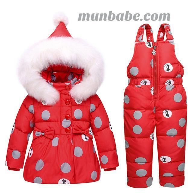001541c03dc4 Waterproof Snowsuit Set with white duck down filling and fur ...
