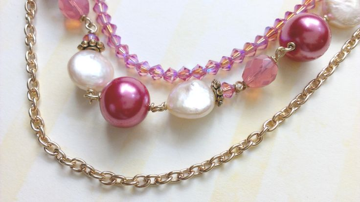 Custom Bridesmaid Necklace: Costume gold, freshwater pearls, Swarovski crystals, + glass beads. www.aebumble.com
