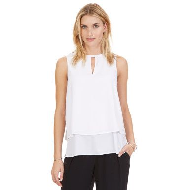 Nautica Tiered Sleeveless Top - Bright White #vermontfashion