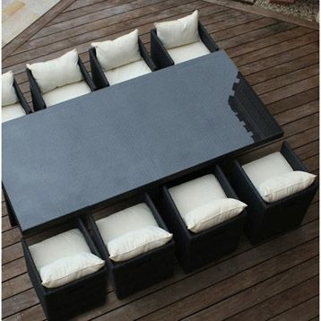 Salon de jardin en r sine tex 8 noir dcb garden noir for Jardinage decoration jardin