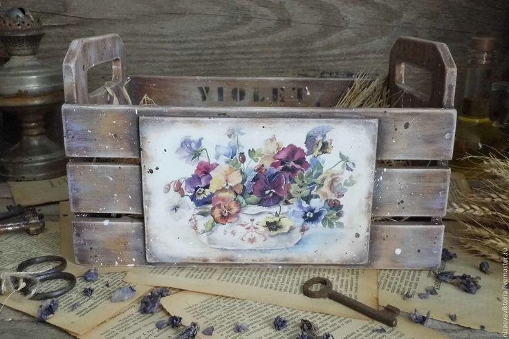 """Купить """"VIOLET"""" Деревянный ящик - ящик, Деревянный ящик, цветы, васильковый, винтажный стиль, летний"""