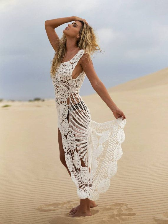 Crochet maxi dress , handmade crochet up and down dress, beach crochet wedding dress