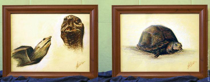 Купить диптих графика рисунок картины: черепахи 2 работы - картина, Диптих, черепаха