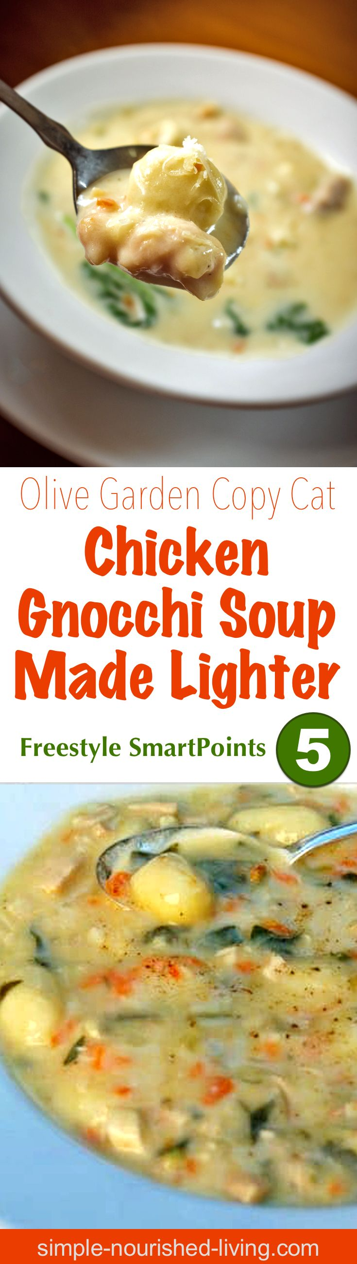 Are you a fan of Olive Garden's Chicken Gnocchi Soup, but not all the fat and calories? I think you'll love my version of Olive Garden Chicken Gnocchi Soup Made Lighter.Tender bites of chicken, Italian potato dumplings and vegetables suspended in a thick, creamy flavorful broth, this soup is hearty enough to be meal-worthy. (Simple-Nourished-Living.com)